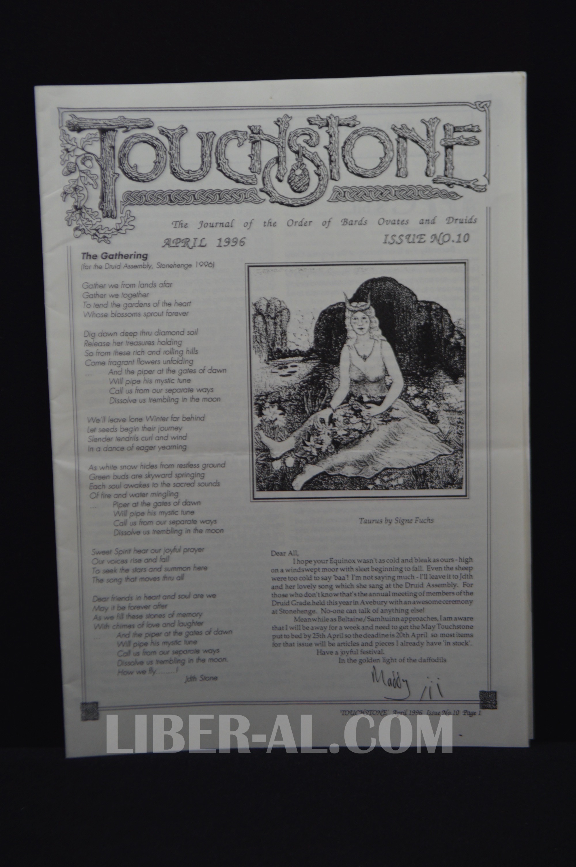 Touchstone Issue No  10 April 1996 [The Journal of the Oder of Bards Ovates  and Druids]